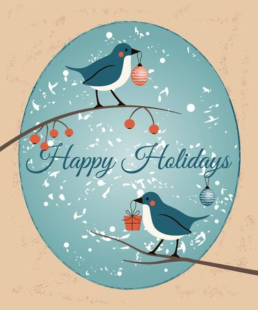 Happy Holidays retro card with birds. Happy New Year and Merry Christsmas greeting illustration