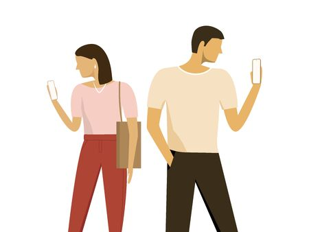 Couple Man and Woman Using Smartphones