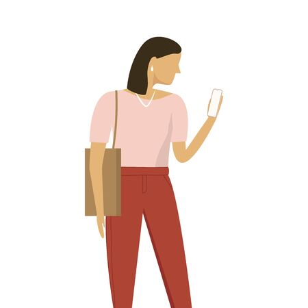 Stylish Woman with Bag Using Smartpone