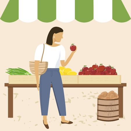 Woman shopping at farmer market. Outdoor grocery shopping, organic nutrition, fresh fruits and vegetables.