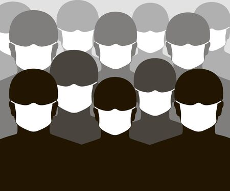 People with medical face mask silhouette