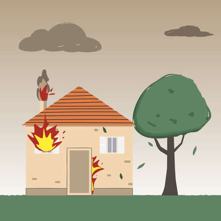 Residential fire. Burning Family house. Fire insurance. Ilustração