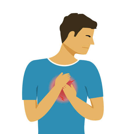 Heart Disease Accident. Man with Chest Pain. 免版税图像 - 165786341