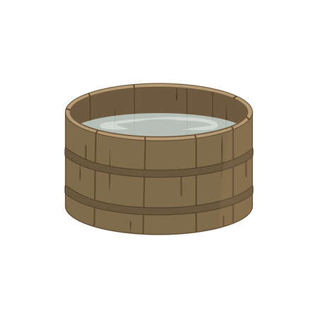 Wooden Traditional Bucket. Old Pelvis with Water