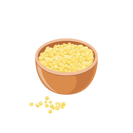 Yellow millet in brown bowl isolated on white. Cereal seed