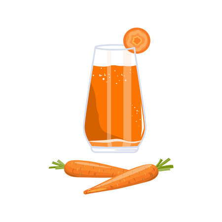 Fresh Carrot and Juice in Glass. Vegetable Detox Drink