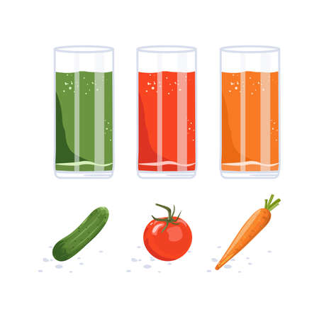 Fresh Juice in Glass. Carrot, Tomato and Cucumber Vegetable. Smoothie Detox Vettoriali