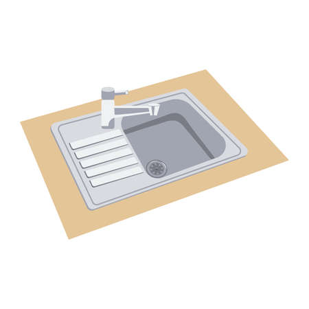 Single Bowl Stainless Steel Kitchen Sink With Tap. Vettoriali