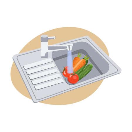 Washing Vegetables Under Running Water in Kitchen Sink.
