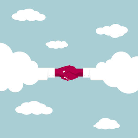 Handshake Concept Design, Cloud and Cloud Cooperation. In the blue sky Stock Illustratie