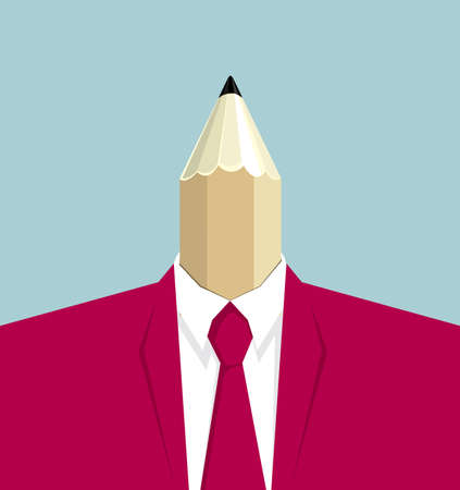 Creative concept, businessman's head is pencil. Illusztráció