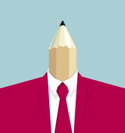 Creative concept, businessman's head is pencil. Illustration