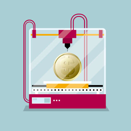 3D printing a dollar coin,the concept of molding a shape. Illustration
