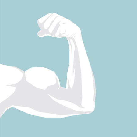 Fitness concept design, arm on the blue background. Ilustrace