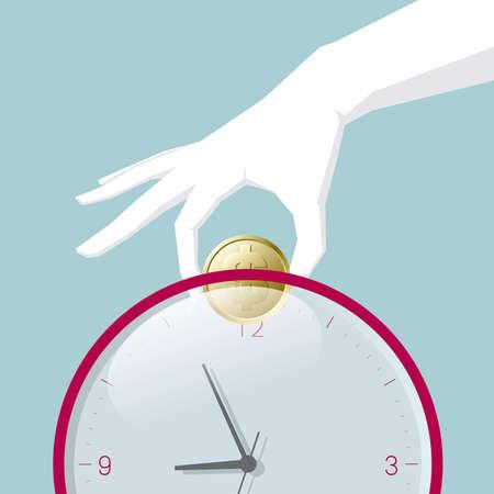 One hand holding a dollar coin,Into a piggy bank,Piggy bank is a clock.