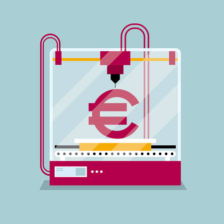 3D printing  euro symbol, concept of molding a shape. Foto de archivo - 100517256