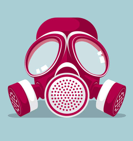 drawn gas mask on the blue background.