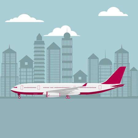drawn passenger plane, background is city architecture. Ilustração