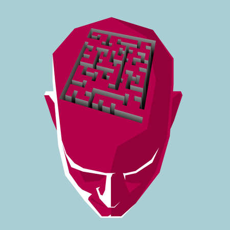 The QR code symbol above the head, Form a labyrinth. Illustration