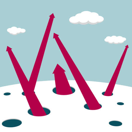 Arrows extend from the trap. White clouds in the blue sky. The arrow is red.