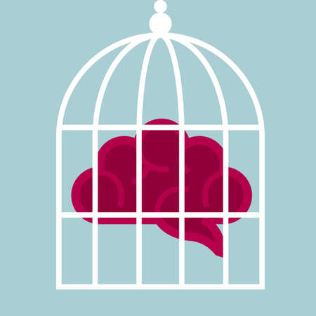 Concept of imprisoned mind, brain in a birdcage.