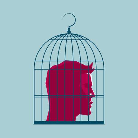 Human head in a birdcage, surreal concept design. Illustration