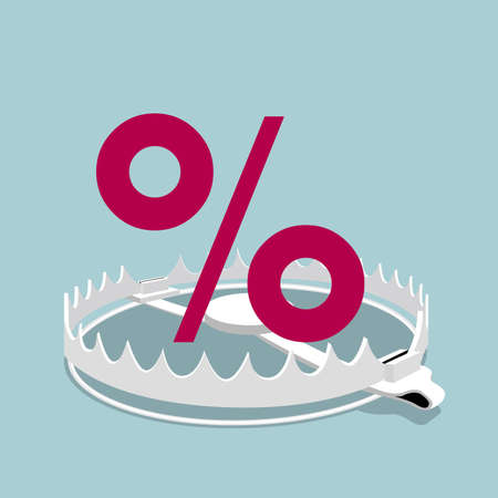 The percentage sign mark in the trap, percentage sign is red, trap is gray. Stock Illustratie