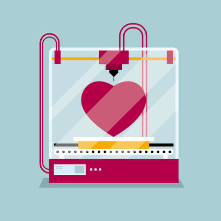 3D printing a heart-shaped symbol, the concept of rapid prototyping. Illustration