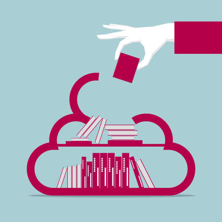 Education concept design, one hand holding a book, put in cloud symbol.