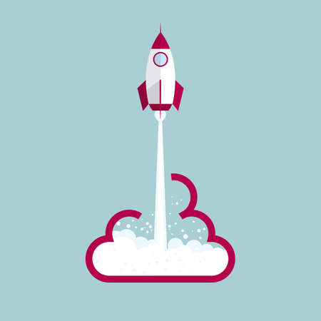 Rocket launch from cloud symbol