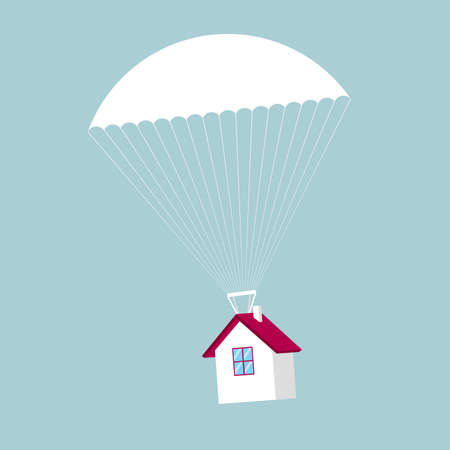 Airdrop concept design,house fall from the sky. The background is blue.