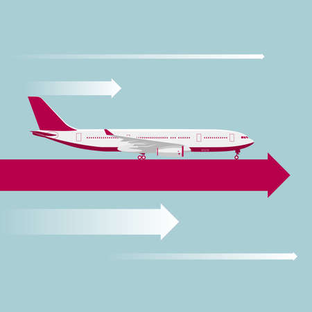drawing of a large passenger plane,On the arrow in mid air.