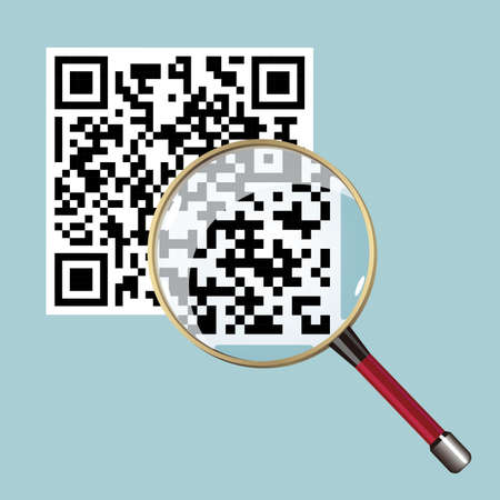 Conceptual design of two-dimensional code, carefully observed with a magnifying glass.