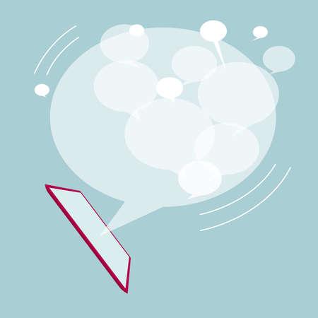 Communication concept, speech bubble on the tablet