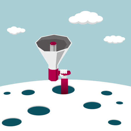 Hand hold megaphone extend from the trap. White clouds in the blue sky. The megaphone is red. Illustration