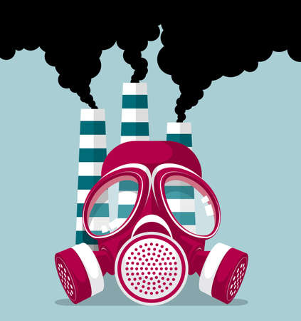 Industrial pollution concept design, gas mask and three chimneys, smoke billowing.