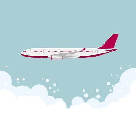drawing of a large passenger plane,In mid-air. Ilustração