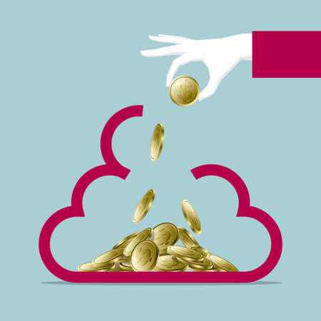 Financial concept design, one hand holding dollar coin, put in cloud symbol.