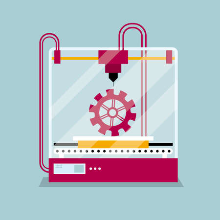 3D printing a  gear symbol,the concept of molding a shape. Illustration