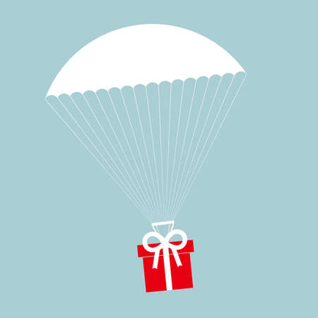 Airdrop concept design, gifts fall from the sky. The background is blue. Illustration