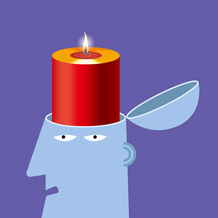 Artificial intelligence concept design, candles in the brain.