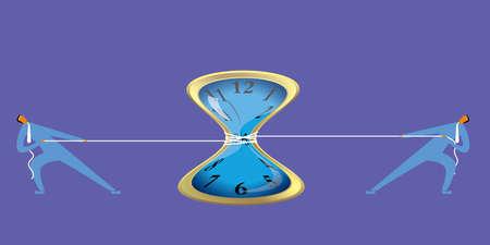 Two businessmen tug of war,common pull clock. Ilustrace