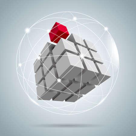 Cubo ensamblado de bloques, bloques de rompecabezas, uno de los cuales es rojo.