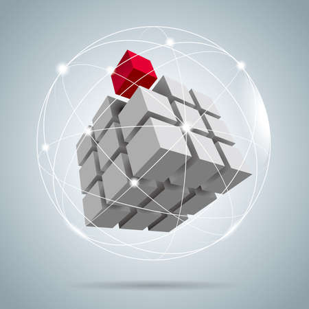 Cube assembled of blocks,puzzle blocks, one of which is red.