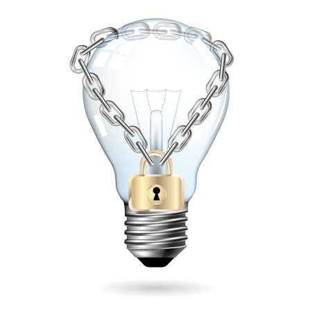 Big idea design,Light bulb locked by chain. Illustration