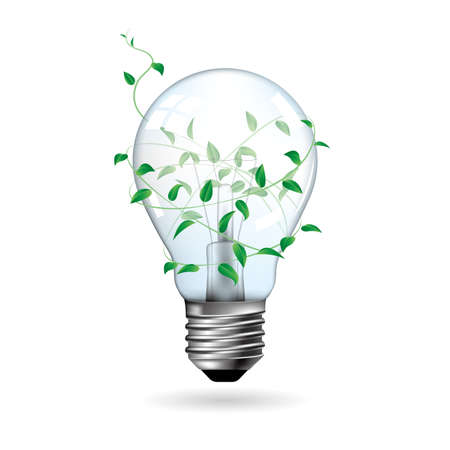 Big idea design,Light bulbs wrapped by plants. Illustration