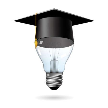 Big idea design, brain in light bulb.graduate cap on the light bulb.