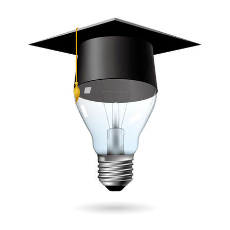 Big idea design, brain in light bulb.graduate cap on the light bulb.