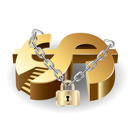 Dollar symbol locked by a chain.Isolated on white background. Illustration