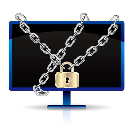 Computer monitor locked by a chain.Isolated on white background.